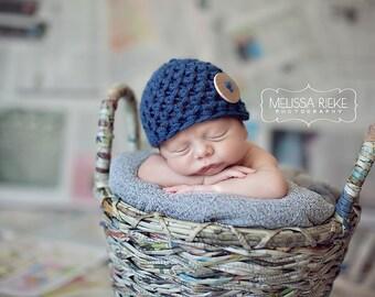 Denim Blue Newborn Button Beanie Hat