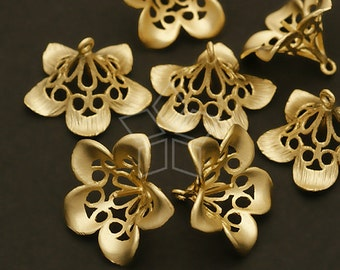 CP-033-MG / 2 Pcs - Trumpet Flower Caps for Half Drilled Drops, Matte Silver Plated over Brass / 16mm