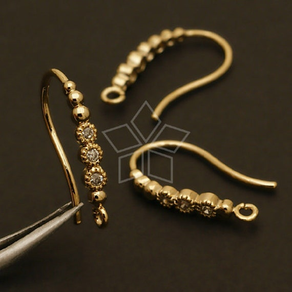 EA-103-GD / 4 Pcs - New Dew Forms (Loop Type) Hook Ear Wires, Gold Plated over Brass / 14mm