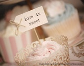 love is sweet Party Picks - cream with twine bows - set of 10
