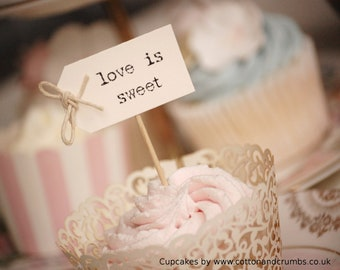 love is sweet Party Picks - ivory with twine bows - set of 10