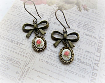 Bow earrings, Vintage Rose Cameo earrings