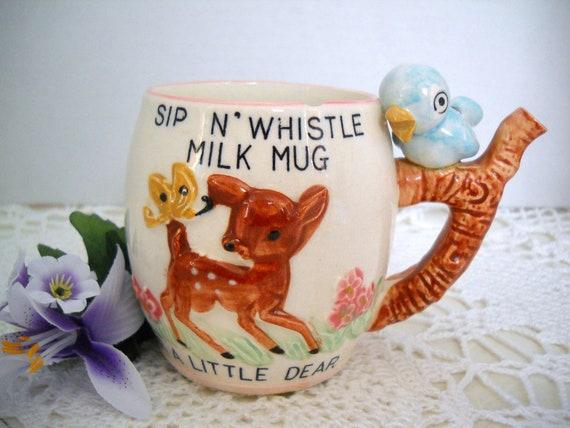 Vintage Sip N Whistle Milk Mug Cup Dear Blue Bird Sippy Handle Ceramic