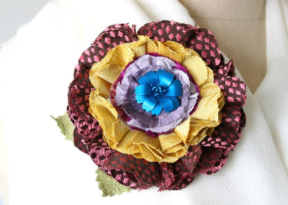 Colorful Fabric Flower Pin, Textile Brooch, Corsage Pin, Blue, Yellow, Pink