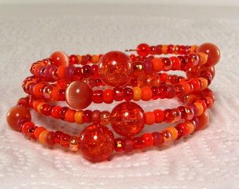 Orange Sunset Memory Wire Bracelet - Orange Bracelet