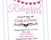 Rehearsal Dinner Invitation - Modern Hearts - Digital File