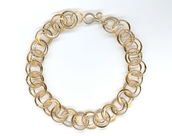 Chain Link Gold Circle Bracelet Chainmaille Gold Wire Chain Double Circle Bracelet Gold Wire Bracelet Gold Chain Link Bracelet