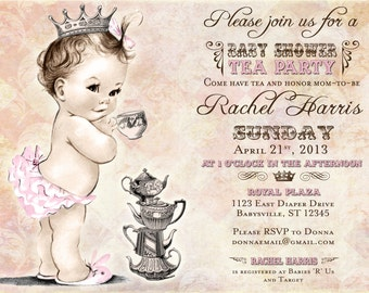 Tea Party Baby Shower Invitation For Girl - Princess - Crown - Pink - FREE SHIPPING or DIY Printable