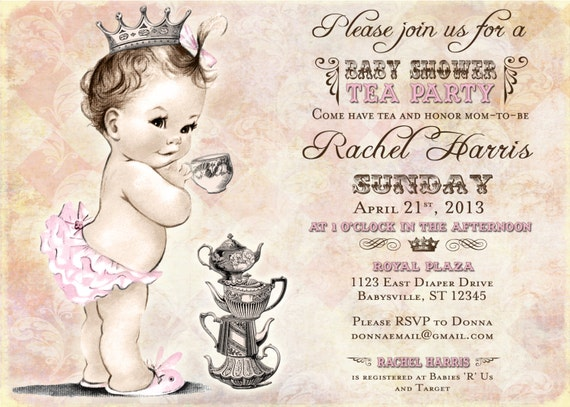 tea party baby shower invitation for girl princess crown, Baby shower invitation