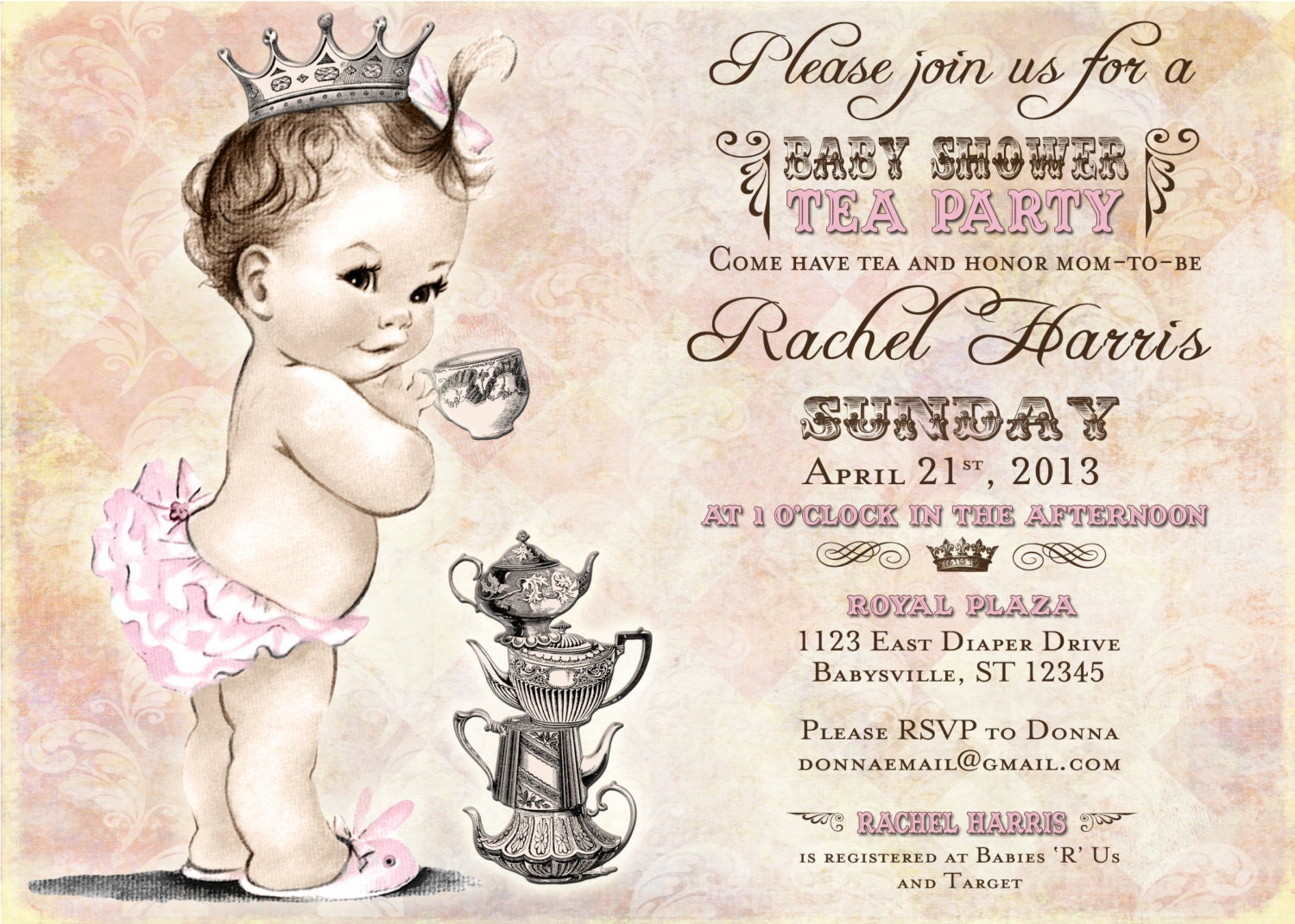 tea party baby shower invitation for girl princess crown