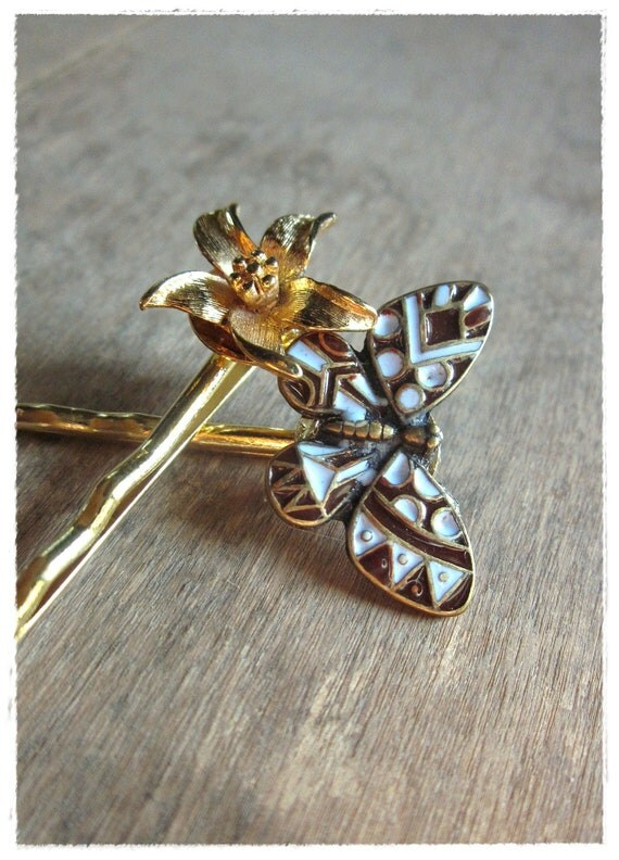 Butterfly Bobby Pins, Flower Hair Pin Pair, blue, Gold, Vintage Hair Accessories