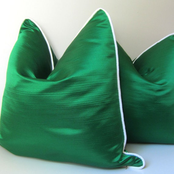 Set of Two - Decorative Pillow Covers - 18 inch -  Emerald Green Silk Pillows - White Silk Piping - Lilly Pulitzer inspired - made to order