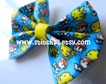 8-bit Ash Ketchum and Pikachu Pokemon Hair Bow or bow tie