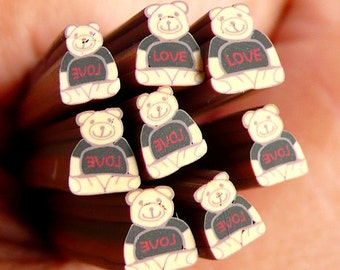 Bear with Love Polymer Clay Cane Animal Fimo Cane Kawaii Nail Art Nail Deco Nail Decoration Scrapbooking Earrings Making CAN042