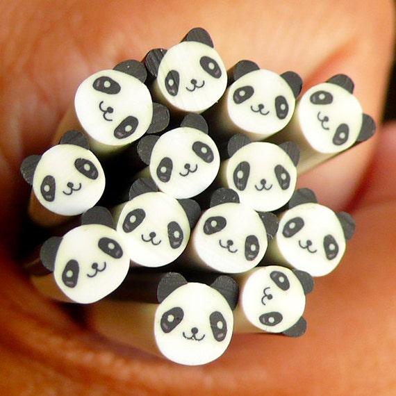 Panda Polymer Clay Cane Animal Bear Fimo Cane Kawaii Nail Art Nail Deco Nail Decoration Scrapbooking Earrings Making CAN044