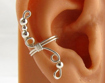 925 Sterling Earcuff Non Pierced Ear Cuff Sterling Silver Round Beads Handmade Gift for Her