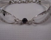 A Spoon Rings Plus Rose and Leaf spoon Bracelet With Gray Bead Silver Spoon Bracelets t117