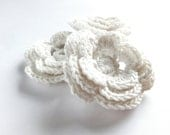 White flowers applique, crocheted embellishments, scrapbooking, wedding decorations /set of 3/