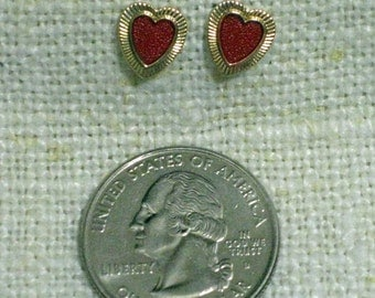 Vintage Red Heart  Earrings with 14 kt Posts  1960s New Old Stock...csc204