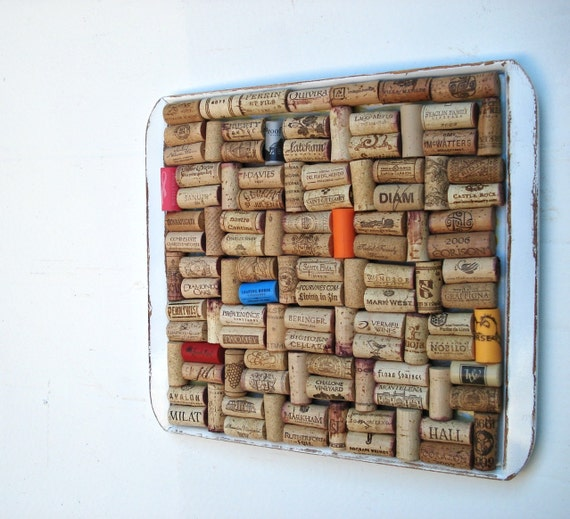 White Distressed Cork Board Repurposed from an Old Tray by Lolailo