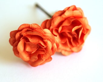 Autumn Rose, Bohemian Wedding Hair Accessories, Bridal Hair Accessory, Orange Hair Flower, Bobby Pins, Set of 2