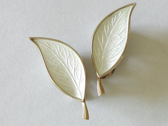 Denmark Enamel Earrings Clip White Leaf Vermeil on Sterling Mid Century