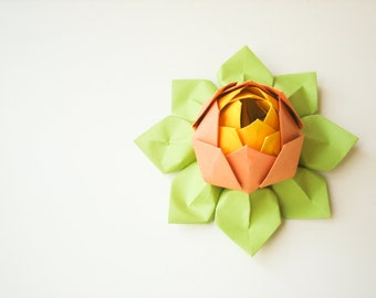 Origami Lotus Flower - Orange, Lemon Yellow, Apple Green - table decoration, wedding favor, birthday, hostess gift, citrus, summer