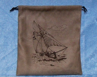 Gift bag, suede cloth with drawstring top, laser engraved with a sailboat