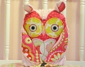 SALE Plush Owl Pillow Toy  - Owl Baby Nursery Pillow - Pink Chenille Girl Owl Plush Owl Decor - The Rebecca Collection