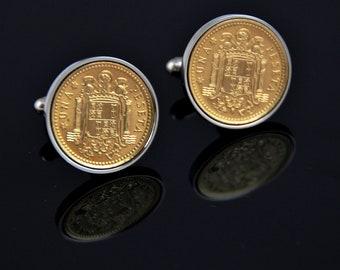 Cufflinks for men - Spain Pesata Cufflinks - Genuine mint coins - 100% satisfaction
