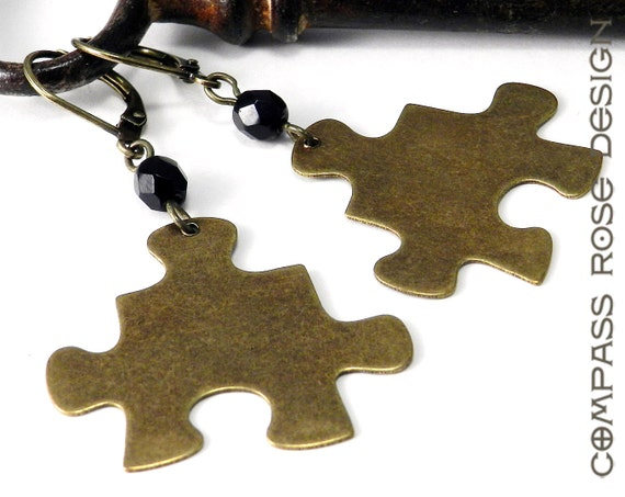 Steampunk Earring Brass Puzzle Piece Dangle Earrings - Black Accent Bead