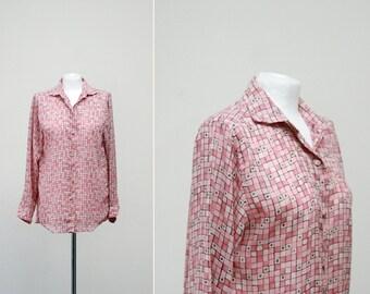 Benetton 1970s Button Down Blouse Blush Pink Geometric Button Blouse Medium