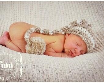 Newborn Boy Hat, Newborn Coming Home Hat, Baby Hat, Newborn Striped Elf Hat, Baby Stocking Hat, Long Tail Hat, Newborn Photography Prop