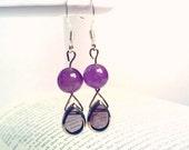 Amethyst Purple Earrings Dangle Teardrop Glass and Gemstone Summer Wedding Bridesmaid Jewelry