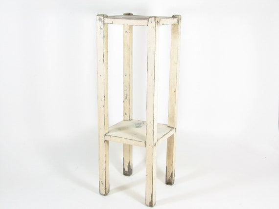 Vintage Wood Plant Stand Side Table White Tall Narrow Chippy Paint Shabby Cottage Chic Table