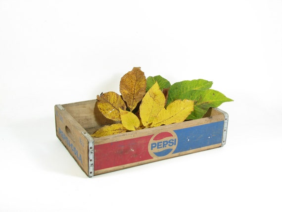 Wooden Pepsi Crate Vintage Soda Pop Wood Box Serving Tray Shadow Box