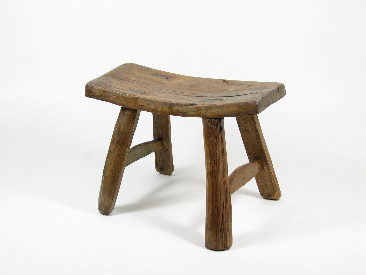 Vintage Wooden Stool Primitive Wood Footstool Natural Wood