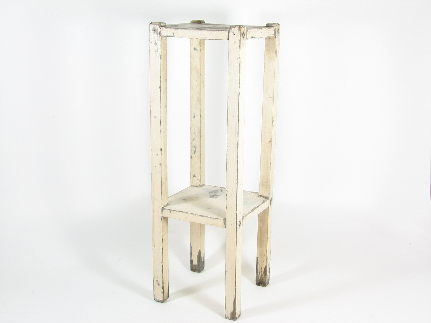 Vintage wood plant stand side table white tall narrow chippy for Tall slim side table