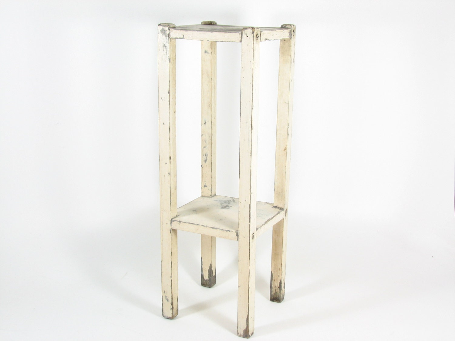 Vintage wood plant stand side table white tall narrow chippy for Tall white end table