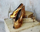 Vintage Bronzed Plated Peep Toe 1940s Shoes Sculpture