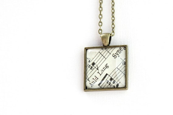 Auld Lang Syne necklace made with vintage sheet music. New Years jewelry accessory for women