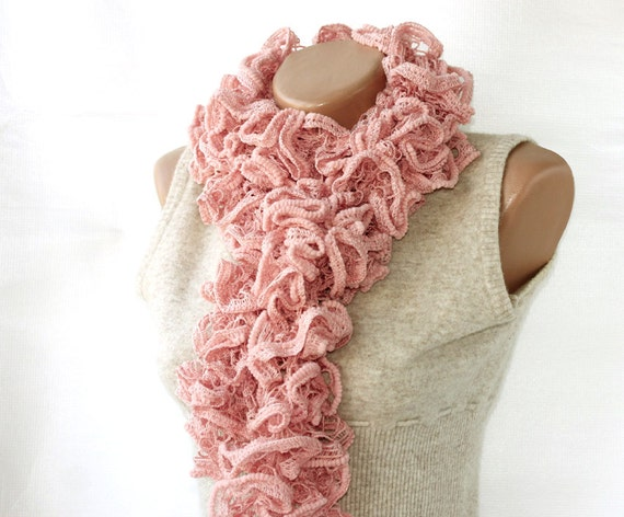Ruffle scarf pink knit scarf lace scarf skinny scarf  frilly scarf knitted scarf lightweight scarves for woman gift for her fashion scarves