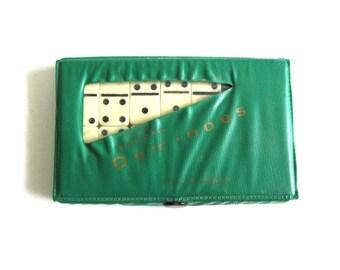 Vintage Dominoes in green case