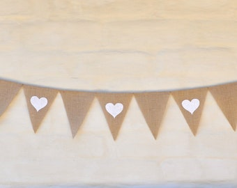 HEARTS by THE METRE Hessian Burlap Banner Nursery Baby garland Wedding Engagement Celebration Party Bunting Decoration Birthday Baby shower