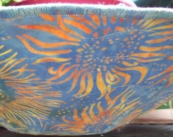 Decorative blue batik sunflower fabric bowl