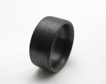 Custom Carbon Fiber Ring in 'Linear' Grain, 11mm  YOU CHOOSE SIZE