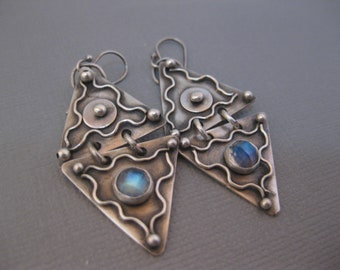 Handmade Double Triangle Sterling Silver Earrings with Rainbow Moonstone