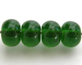 Lampwork Glass Spacer Beads (4) Transparent Sage Green - CLOSEOUT SALE
