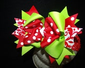 Hairbow Grinch Theme Christmas Bow Triple Layered bow with headband for newborn toddler or big girl wear