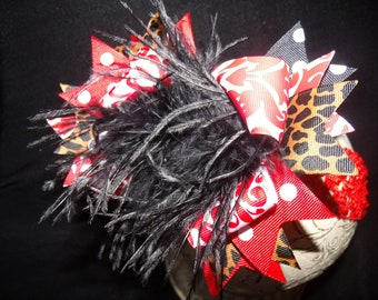Over The Top Boutique Hairbow..Red Cheetah Spikey Layered Boutique Bow and Headband..Great for Newborn Toddler big Girl